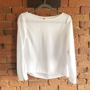 Long Sleeve Blouse in White by Uniqlo